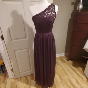 Eggplant one shoulder lace and chiffon dress